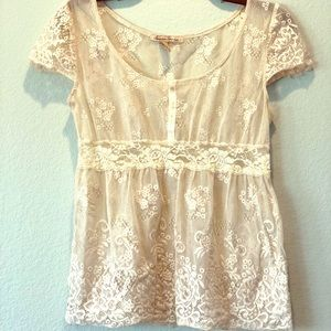American Rag Cream Lace Top